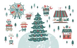 Christmas market, fair, winter festival. Set. Happy New year inscription. Christmas tree, trucks with gifts and food, a Ferris wheel, garlands, horses carousel royalty free illustration