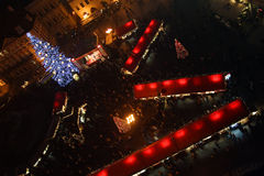 Christmas market and festival. Staromestske (oldtown) square -christmas night-shot - Prague - Czech Republic Stock Image