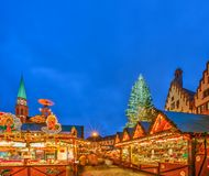 Christmas market in Frankfurt. FRANKFURT -  DECEMBER 19 2012: Traditional christmas market in the historic center of Frankfurt, Germany on December 19, 2012 Royalty Free Stock Images