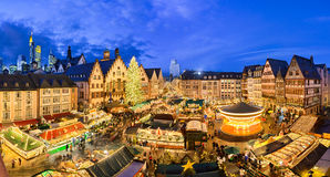 Christmas market in Frankfurt, Germany. At night Royalty Free Stock Photo