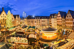 Christmas market in Frankfurt, Germany. At night Royalty Free Stock Photos