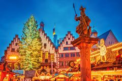 Christmas market in Frankfurt. Traditional christmas market on Roemer Platz in Frankfurt, Germany royalty free stock photography