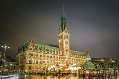 Christmas Market in front of the city hall, Germany royalty free stock photos