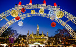 Christmas Market in front of the City Hall Rathaus, Wien, Austria. VIENNA, AUSTRIA - 6 DECEMBER 2016: People at the traditional Christmas Market in front of the Stock Images