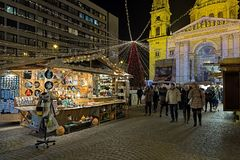 Christmas market in front of St. Stephen`s Basilica in Budapest, Hungary Royalty Free Stock Photography
