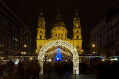 Christmas Market in front of St. Stephens Basilica, Budapest, Hungary Royalty Free Stock Photos