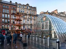 Christmas market in Glasgow city, UK. Christmas market on St Enoch square in the centre of Glasgow, UK Stock Photos