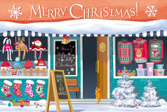 Christmas Market greeting card Stock Photos