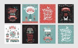 Christmas market, Happy New year and Merry Christmas royalty free illustration