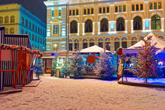 Christmas market held at Livu Square in Riga Stock Photography