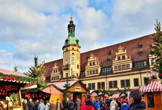Christmas Market in historical center of Leipzig Stock Photography
