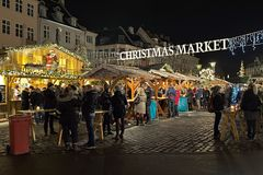 Christmas market on Hojbro Plads in Copenhagen, Denmark Royalty Free Stock Images