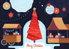 Christmas market and holiday fair. Christmas time royalty free illustration