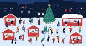 Christmas market or holiday outdoor fair on town square. People walking between decorated stalls or kiosks, buying. Snacks and drinking mulled wine. Colorful vector illustration