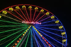 Christmas market with illuminated ferris wheel in Duisburg, Germ Royalty Free Stock Photo