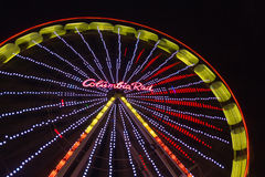 Christmas market with illuminated ferris wheel in Duisburg, Germ Stock Image