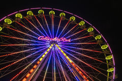 Christmas market with illuminated ferris wheel in Duisburg, Germ Royalty Free Stock Photography