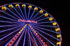 Christmas market with illuminated ferris wheel in Duisburg, Germ Royalty Free Stock Photos