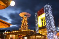 Christmas Market illuminated at night stock photography