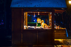 Christmas market with illuminated shop for gift and decoration Royalty Free Stock Photography