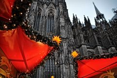 Christmas market illumination and decoration in Cologne, Germany Stock Image