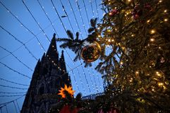 Christmas market illumination and decoration in Cologne, Germany Royalty Free Stock Image