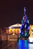 Christmas Market illumination at night. Vilnius Town Hall and a traditional european Christmas Market illumination at night Stock Image