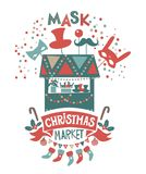 Christmas market illustration. Winter time. Merry Christmas and Happy New Year on amusement park, winter market, festival, fair. Poster, invitation, postcard Royalty Free Stock Image