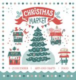 Merry Christmas and Happy New Year illustration. Christmas market illustration. Merry Christmas on amusement park, winter market. In the centre illustration, a Stock Photos