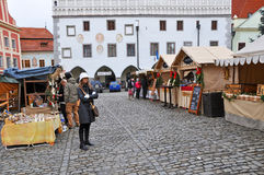 Christmas Market In Cesky Krumlov Royalty Free Stock Photography