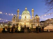 Christmas Market in Vienna at Karlsplatz Royalty Free Stock Images