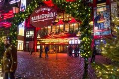 Christmas Market in the Kiez, Reeperbahn, Hamburg, Germany royalty free stock images