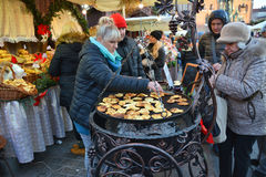 Christmas market in Krakow royalty free stock photo