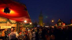 Christmas Market in Lindau on Lake Constance. Bavaria, Germany, Europe stock footage