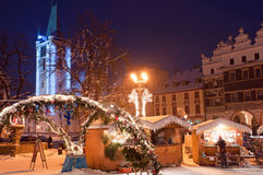 Christmas Market in Litomerice, Czech Republic. Christmas market during the nighttime, Litomerice, Czech Republic royalty free stock photography