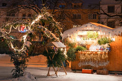 Christmas Market in Litomerice, Czech Republic. Christmas market during the nighttime, Litomerice, Czech Republic Royalty Free Stock Photos