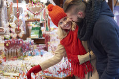 Christmas market with loving person royalty free stock images