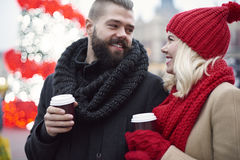 Christmas market with loving person stock image