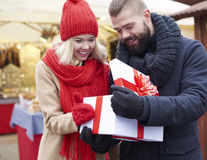 Christmas market with loving person stock images