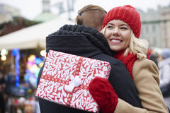 Christmas market with loving person Royalty Free Stock Photos