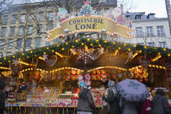The Christmas Market in Luxembourg. People walking and watching the Market Royalty Free Stock Photography