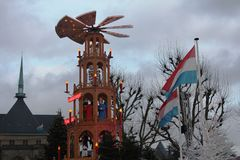 Christmas Market in luxembourg. Xmas market in December in Luxemburg Stock Photos