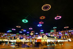 Christmas Market in Madrid by Night Stock Image