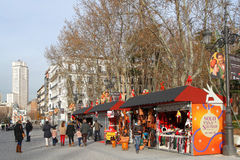 Christmas Market in Madrid Royalty Free Stock Images