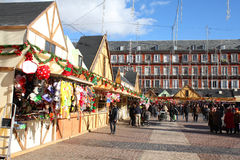 Christmas market in Madrid Stock Image
