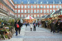 Christmas market in Madrid Stock Photography