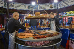 Christmas Market - Manchester - England. Food stall at the Christmas Market near the Town Hall in Albert Square in the city of Manchester in the northwest of Royalty Free Stock Photography