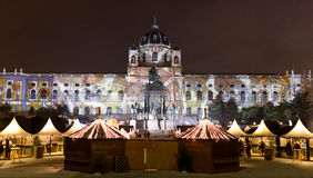 Christmas market at the Maria Theresa Square in Vienna - Wien Royalty Free Stock Image