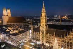 Christmas market on Marienplatz, Munich, Germany Royalty Free Stock Photos