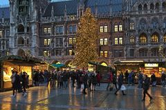 Christmas market on Marienplatz in Munich, Germany Stock Images